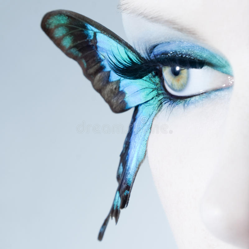 Download Beautiful Woman Eye Close Up With Butterfly Wings Stock Image - Image of eyes, extensions: 39500279