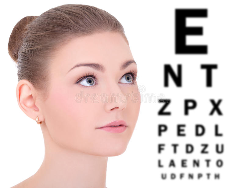 Beautiful woman and eye test chart isolated on white stock photo