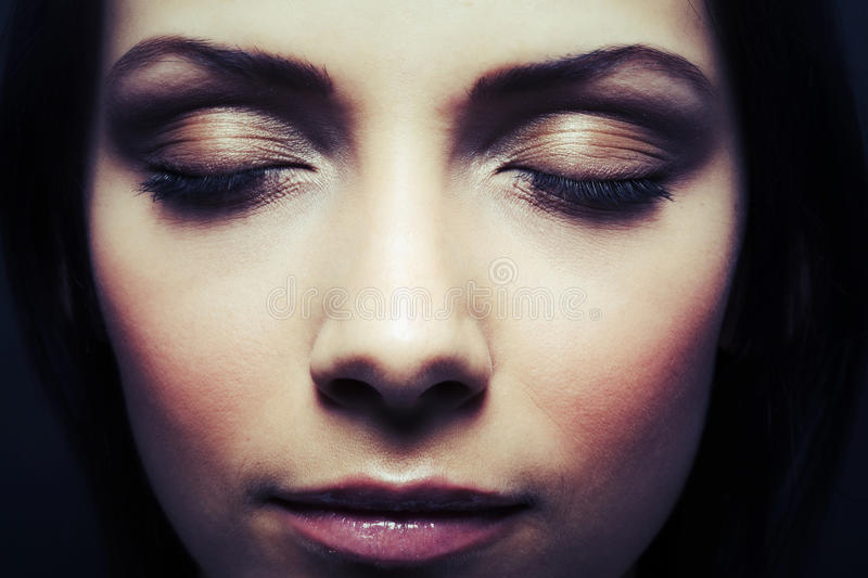 Beautiful woman eyes closed stock image