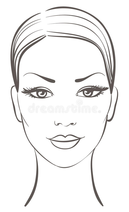 Beautiful woman face. For make up vector illustration royalty free illustration