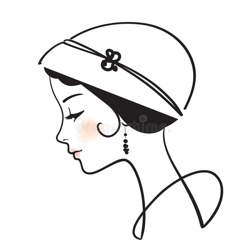Beautiful woman face. With hat illustration royalty free illustration