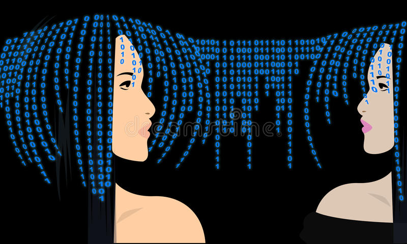 Beautiful Woman Face against Binary Code. Modern Cyber Woman. Digital Surveillance. royalty free illustration
