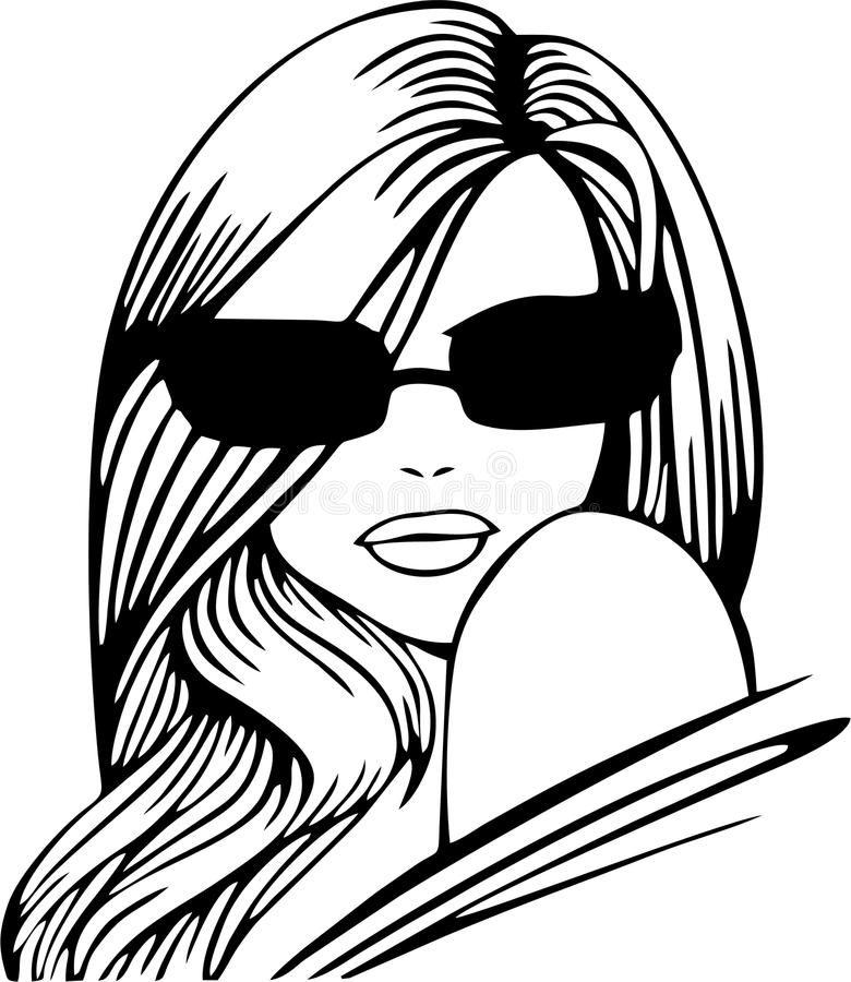 Beautiful Woman Face. With Glasses stock illustration