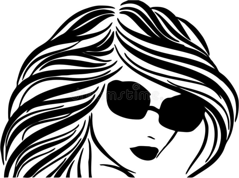 Beautiful Woman Face. With Glasses royalty free illustration