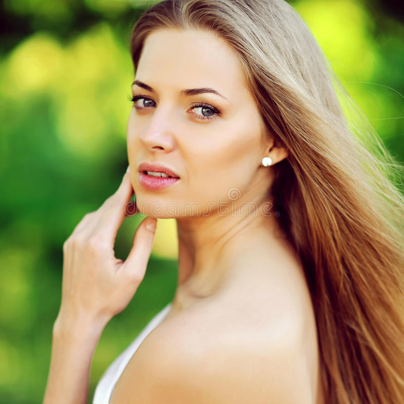 Beautiful woman face - close up royalty free stock images