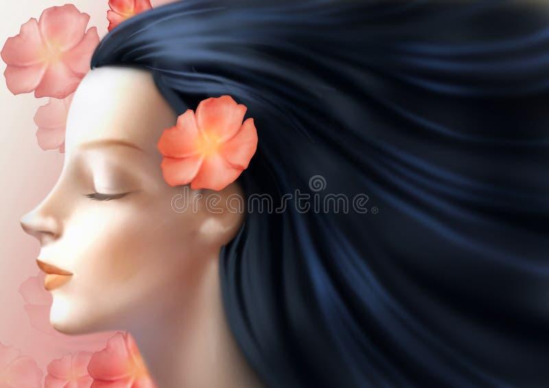 Beautiful woman face close up. Digital illustration of a beautiful woman face close up stock illustration
