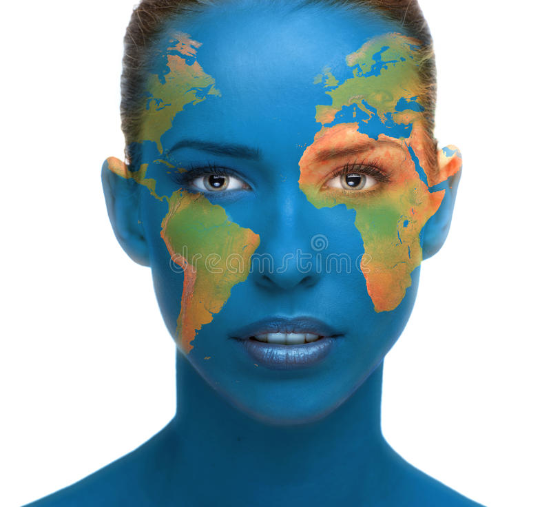 Beautiful woman face close up with planet Earth texture stock image