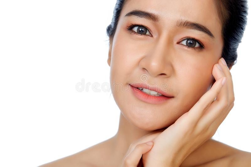 Beautiful woman face close up studio on white royalty free stock photography