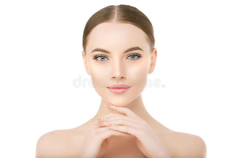 Beautiful woman face close up studio on white Beauty spa model f royalty free stock photography