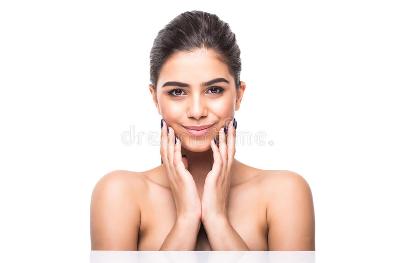 Beautiful woman face close up studio on white. Beauty spa model female, clean fresh perfect skin closeup. Youth care concept. Cosm royalty free stock photography