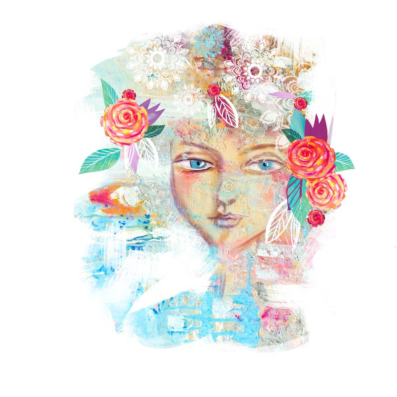Abstract floral spring girl. stock images