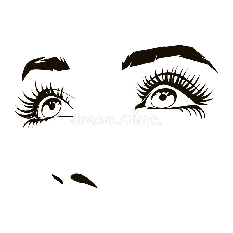 Beautiful woman face with expressive female eyes vector illustration. Beautiful woman face with expressive female eyes. Beauty expression, lady portrait. Vector stock illustration