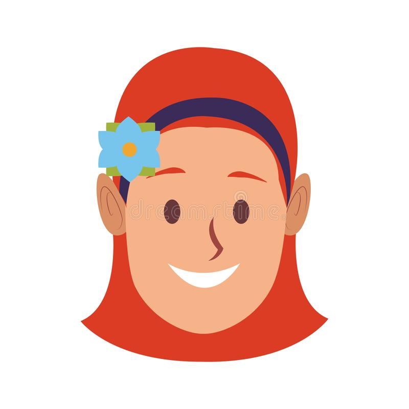 Beautiful woman face. With flower on head vector illustration graphic design stock illustration