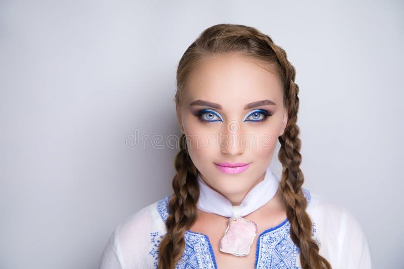 Woman blue make up royalty free stock photos