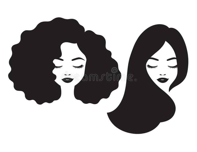 Beautiful Woman Face and Hair Silhouette Vector Illustration stock illustration