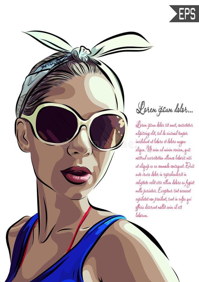 Beautiful woman face hand drawn vector royalty free illustration
