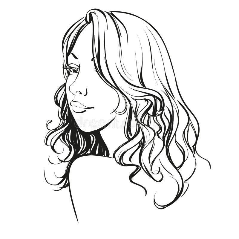Beautiful woman face hand drawn vector illustration. Sketch royalty free illustration