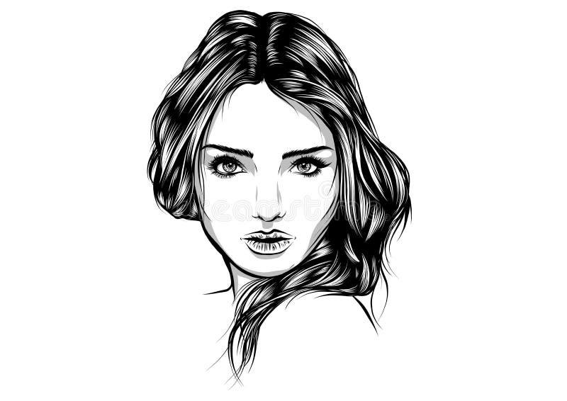 Beautiful woman face hand drawn vector illustration sketch. Beautiful woman face hand drawn vector illustration royalty free illustration