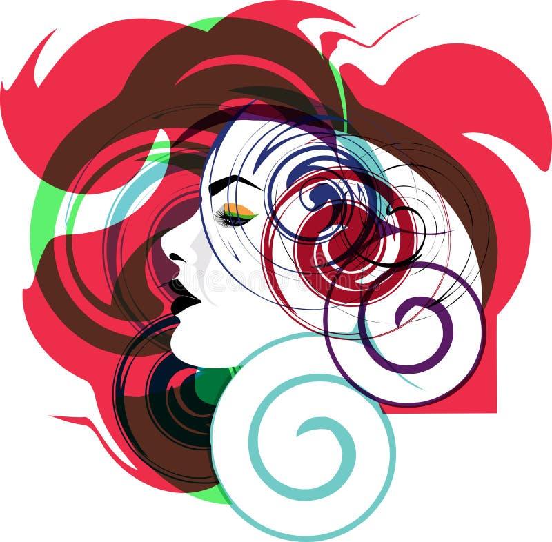 Beautiful Woman Face Illustration Stock Image