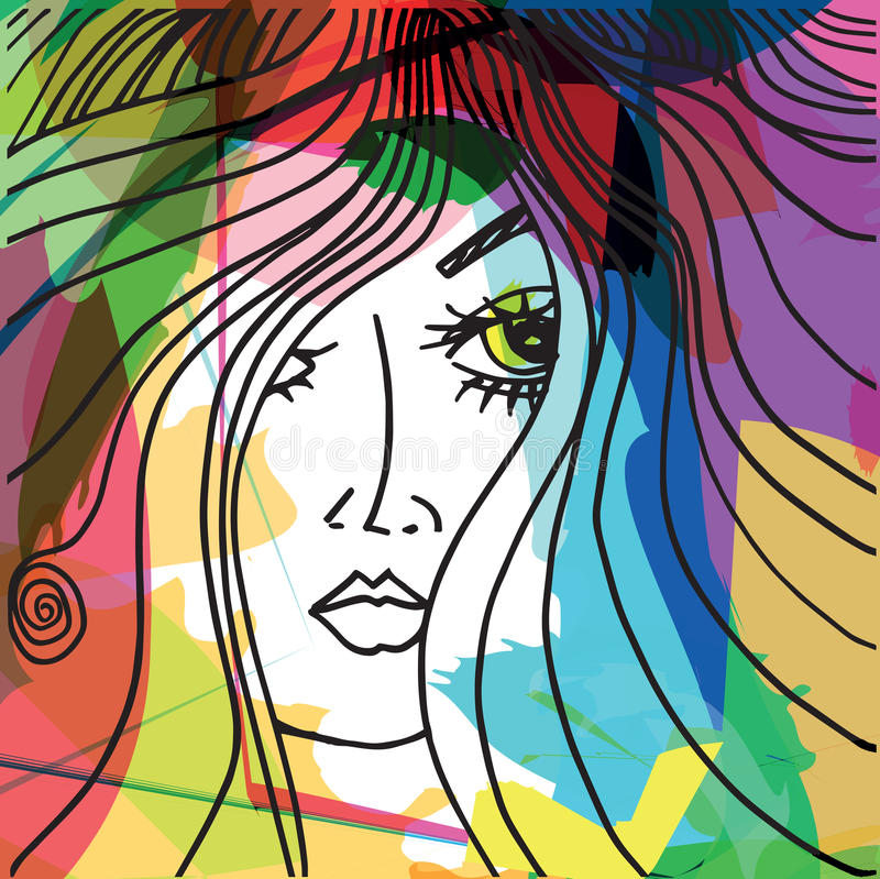 Beautiful woman face illustration. Abstract beautiful woman face illustration royalty free illustration