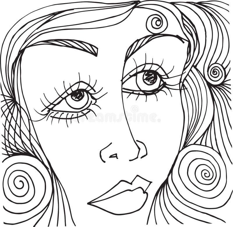Beautiful woman face illustration Sketch. Abstract beautiful woman face illustration on the background stock illustration
