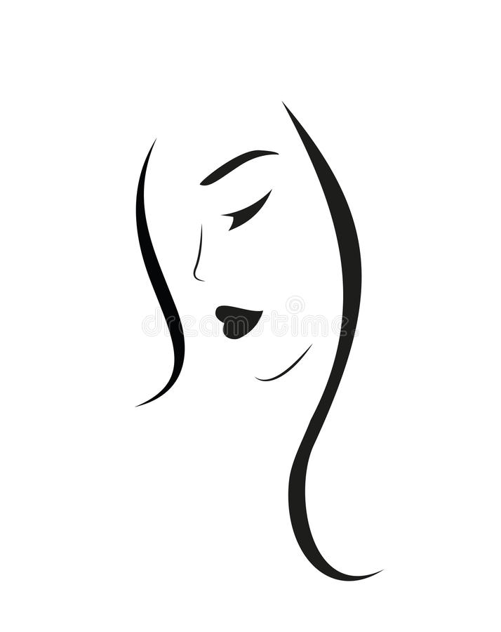 Beautiful Woman face. With Long hair stock illustration