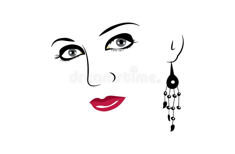 Beautiful woman face with makeup on white background. Beautiful woman face with makeup and earring logo icon sign symbol isolated on white background vector illustration