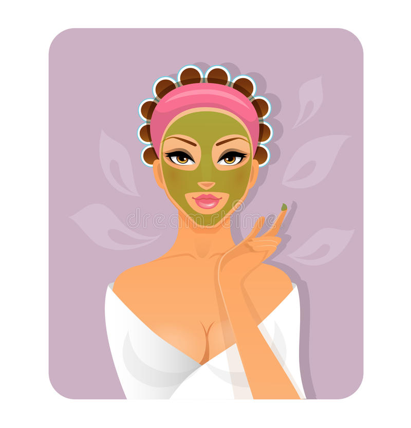 Beautiful woman with face-mask. Vector illustration of Beautiful woman with face-mask vector illustration
