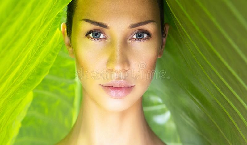 Beautiful Woman face with Natural nude make-up on a tropical lea stock image