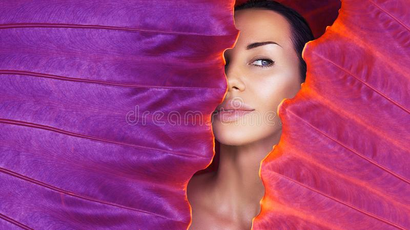 Beautiful Woman face with Natural nude make-up on a tropical leaf background. Healthy life. Purity royalty free stock image