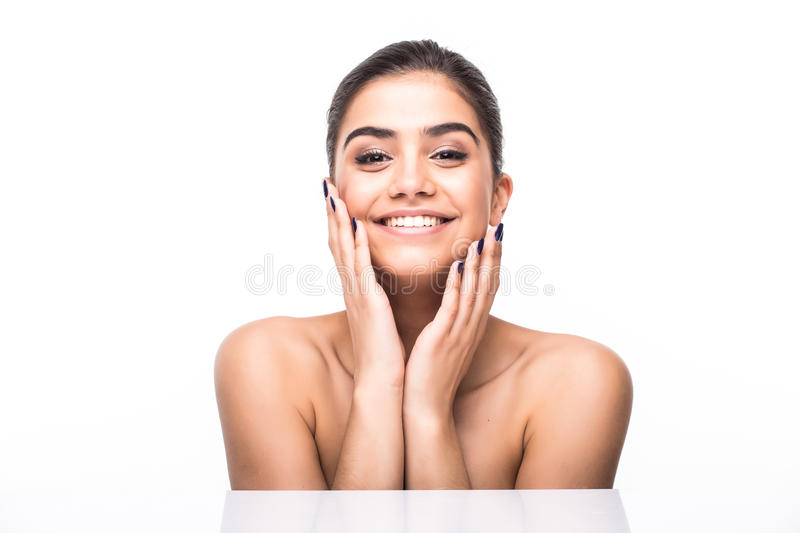 Beautiful woman face. Perfect toothy smile. Caucasian young girl close up portrait. lips, skin, teeth isolated on white background royalty free stock image