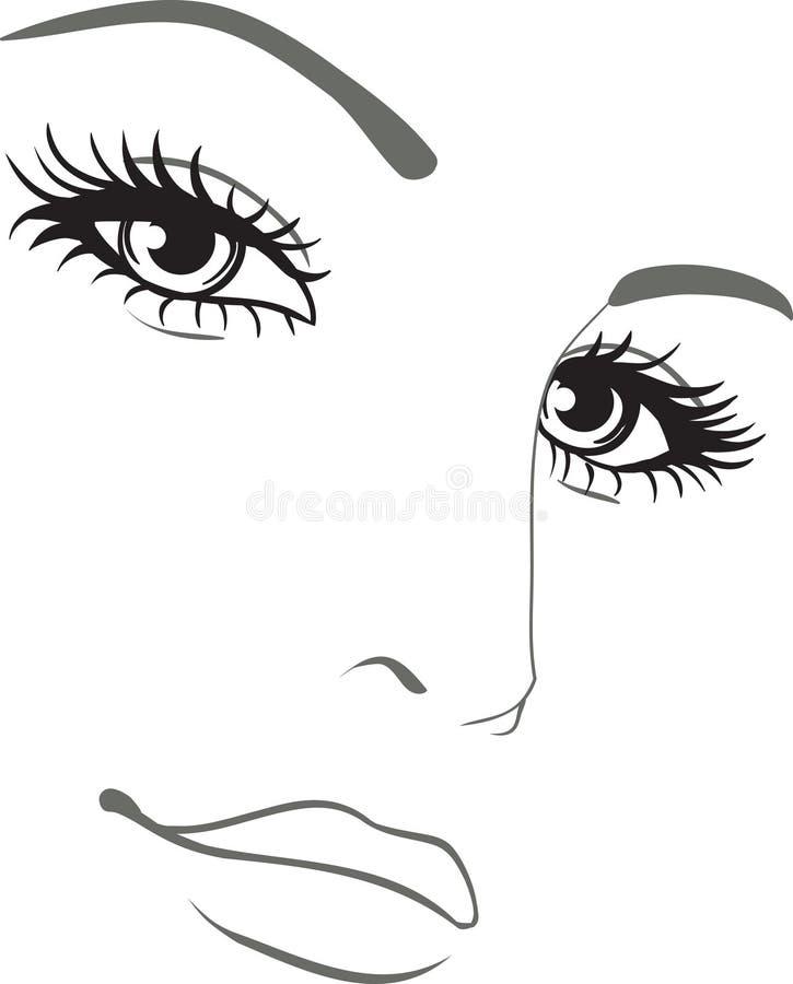 Beautiful woman face portrait stock illustration