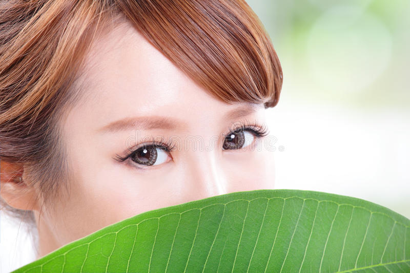 Download Beautiful Woman Face Portrait With Green Leaf Stock Image - Image of care, cover: 33046187