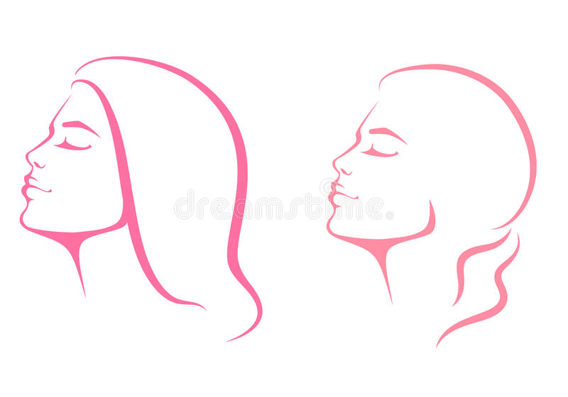Beautiful woman face from profile view. Line illustration of a beautiful woman face from profile view stock illustration