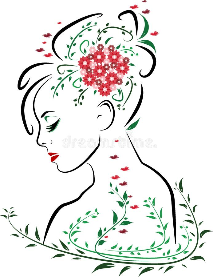 Beautiful woman face from side profile with red lips surrounded by green leaves, butterflies and red flower bouquet in hair royalty free stock images