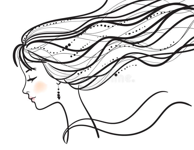 Beautiful woman face silhouette. Beautiful woman face illustration vector illustration