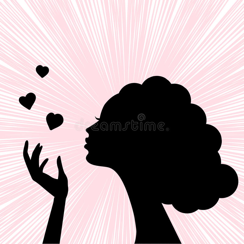 Beautiful woman face silhouette. With heart kiss vector illustration