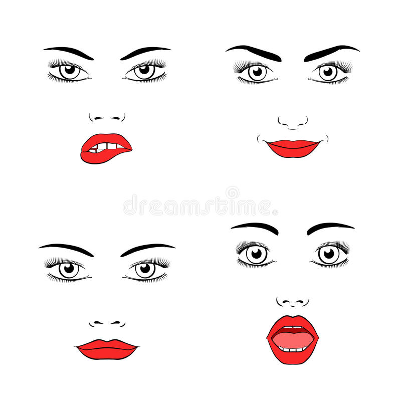 Beautiful woman face silhouette. Set of beautiful woman face silhouette. Emotions and joy, surprise and anger. Vector illustration vector illustration