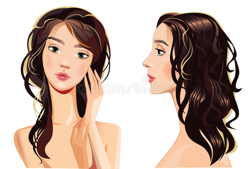Beautiful Woman Face Straight And Profile Stock