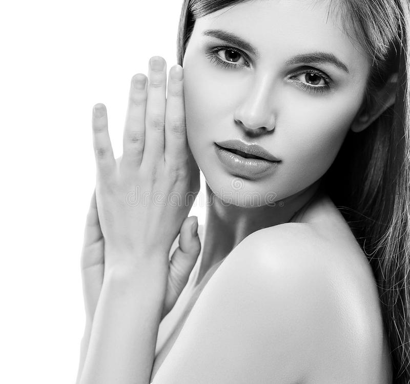 Beautiful woman face studio on white with lips black and white royalty free stock photography