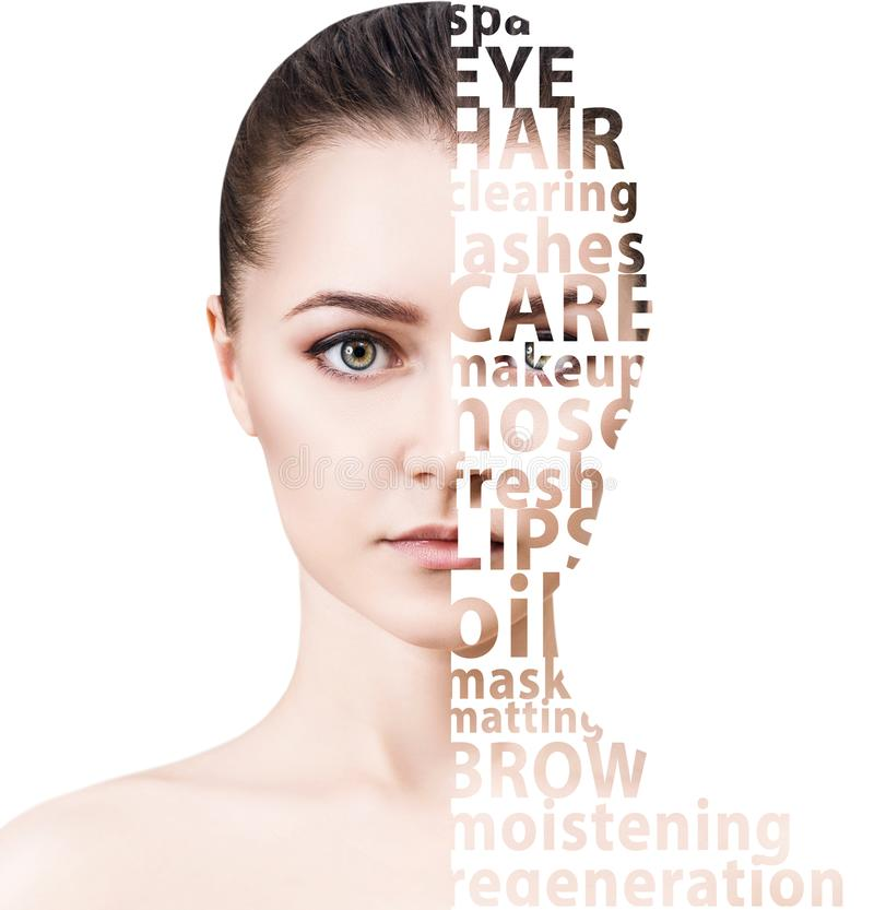 Beautiful woman face with tag beauty words. royalty free stock images