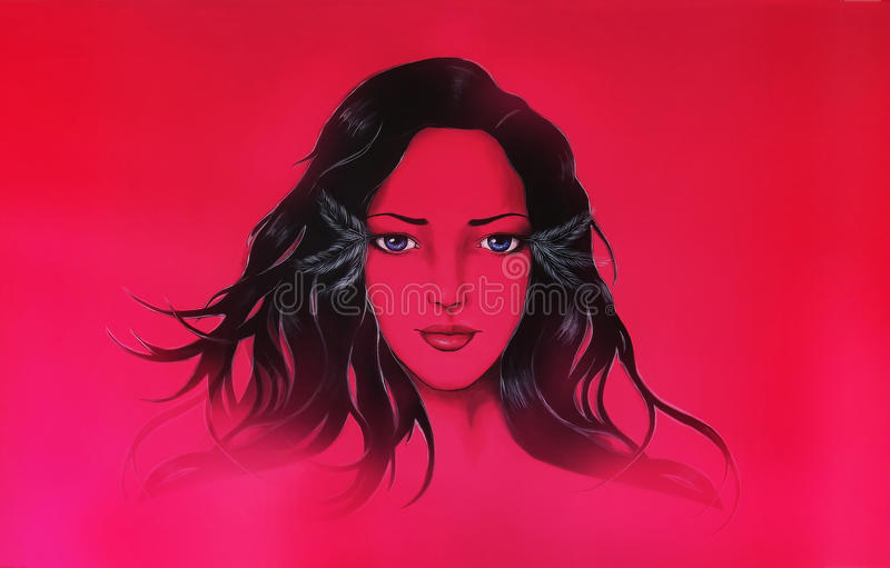 Beautiful woman face, tattoo design, colorful painting, Copy space. Beautiful woman face in black and purple, tattoo design, colorful painting, Copy space vector illustration