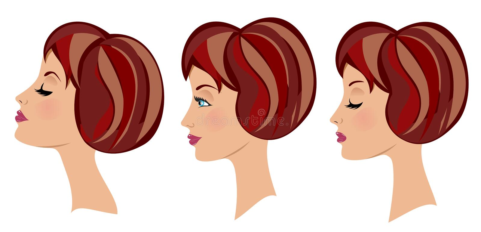 Download Beautiful Woman Face Three Expressions Royalty Free Stock Photography - Image: 27299637