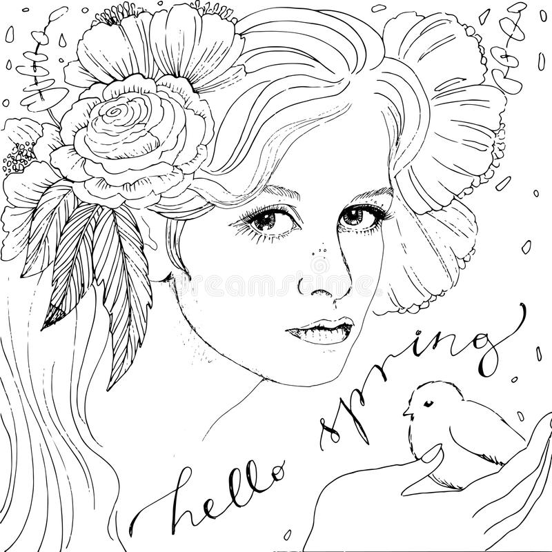 Beautiful woman face vector illustration. Coloring adult book. Hello spring lettering royalty free illustration