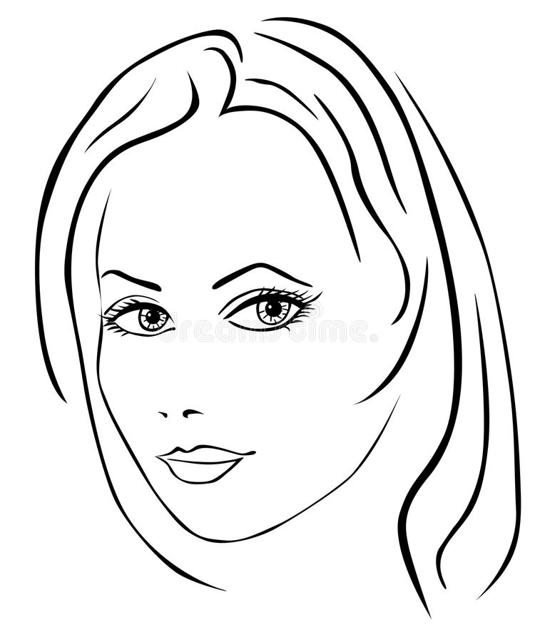 Beautiful woman face. On white background vector illustration