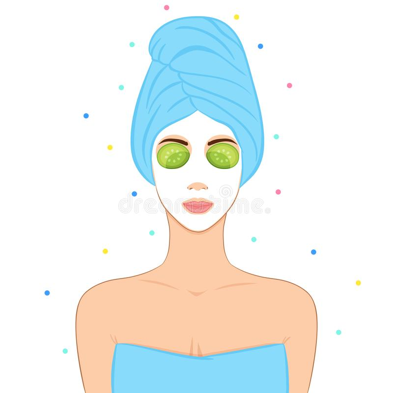 Beautiful woman with facial mask. Home SPA concept. vector illustration