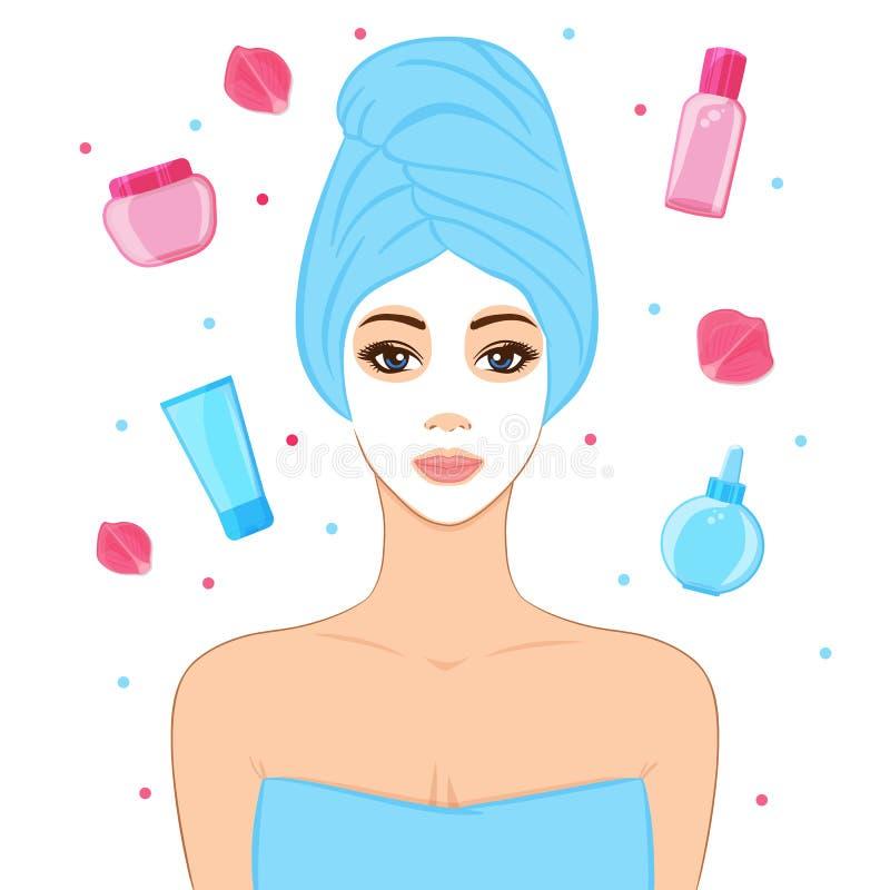 Beautiful woman with facial mask, cosmetics and rose petals stock illustration