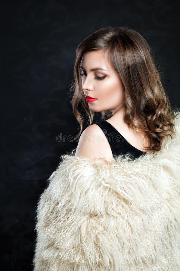 Fashion Portrait of Beautiful Fashion Model in Autumn royalty free stock photos