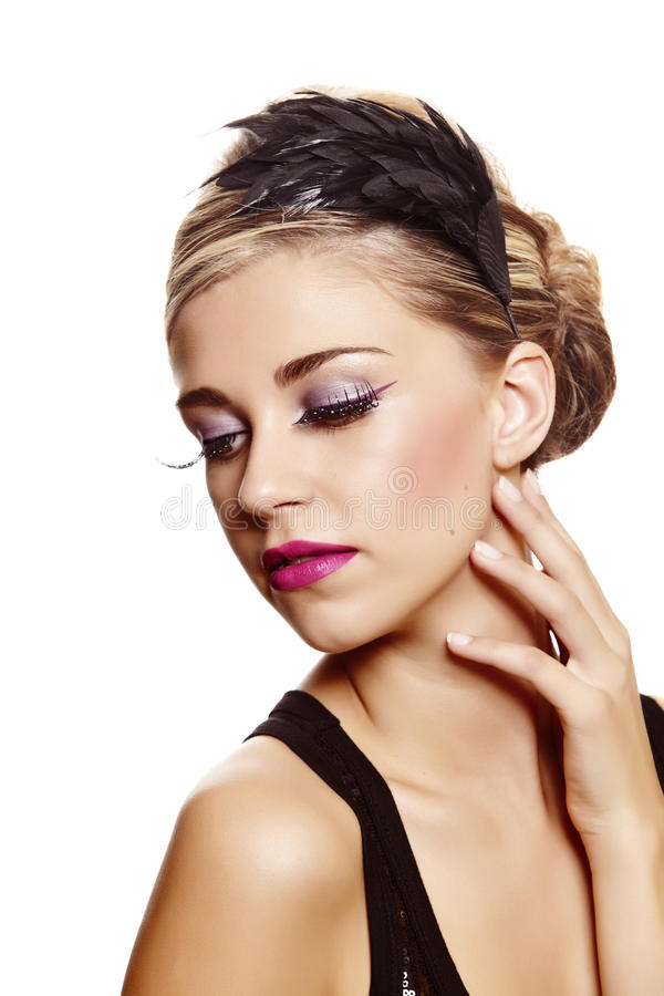 Download Beautiful Woman With Feather Hair Band Stock Photo - Image: 20882340