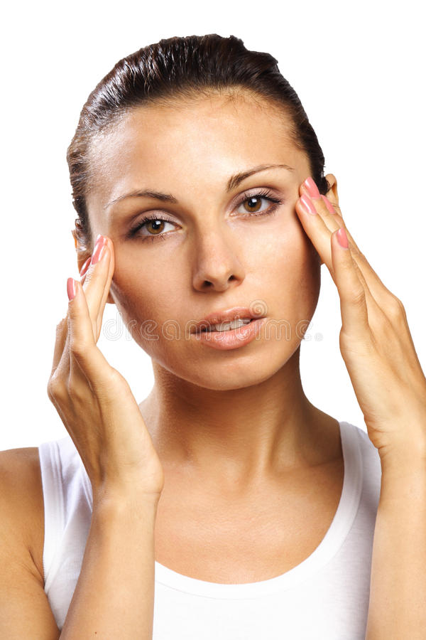 Download Beautiful Woman Feeling Pain Headache Isolated Stock Photo - Image of sensuality, model: 15981350